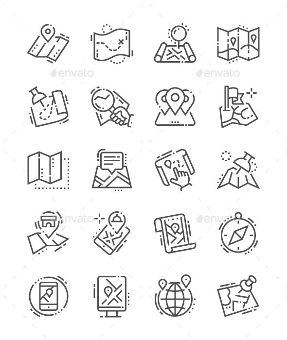 Maps Line Icons | Icons | Icon design, Line icon, Compass icon