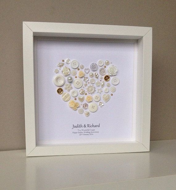 Beautiful Golden Wedding Anniversary Button Art - 50th Anniversary Gift - Framed Gold Button Art - Happy Couple - Grandparents
