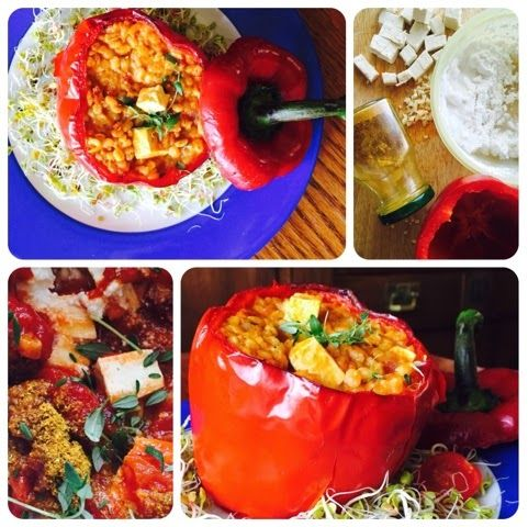 roasted pepper with pearl barley,tomatoes, tofu, coconut milk and curry. vegan recipes. wegańskie. wegetariańskie