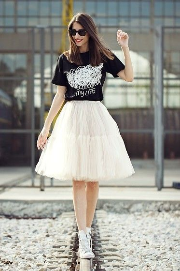 Raquel Falomir - Front Row Tee, Asos Skirt, Converse Shoes - RAILWAY