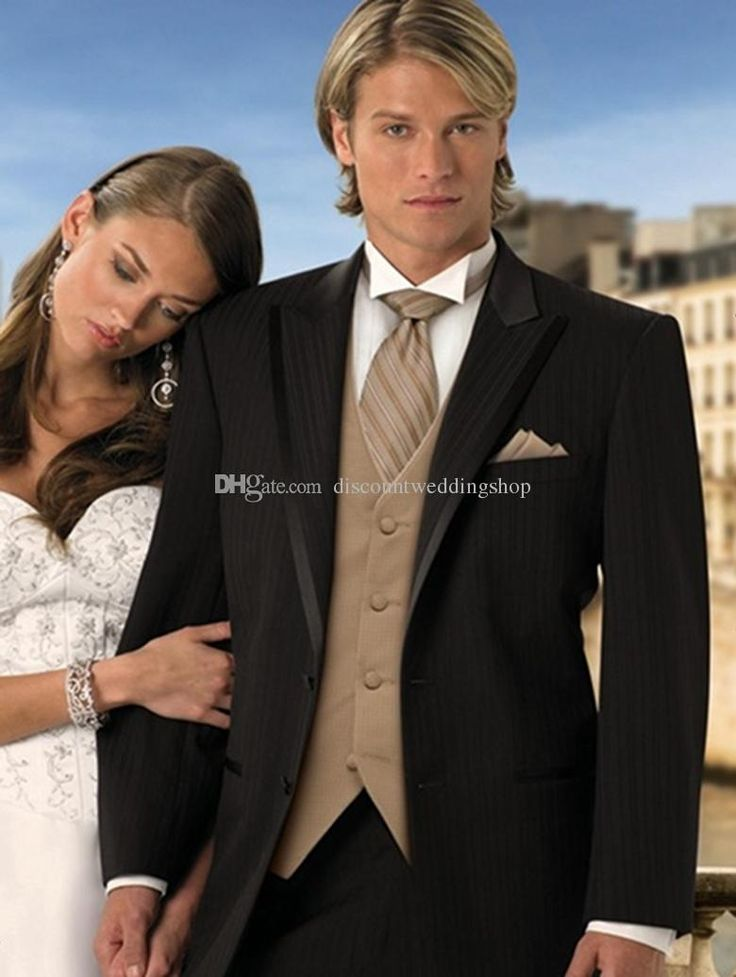 Image result for black wedding suit with chocolate tie