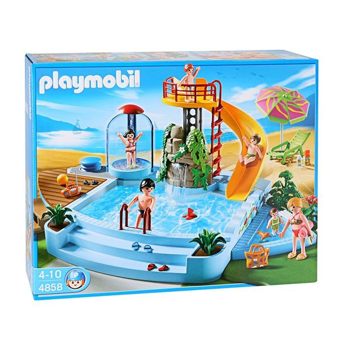 PLAYMOBIL 4858 Piscine et toboggan - Achat / Vente univers miniature PLAYMOBIL 4858 Piscine - Cdiscount