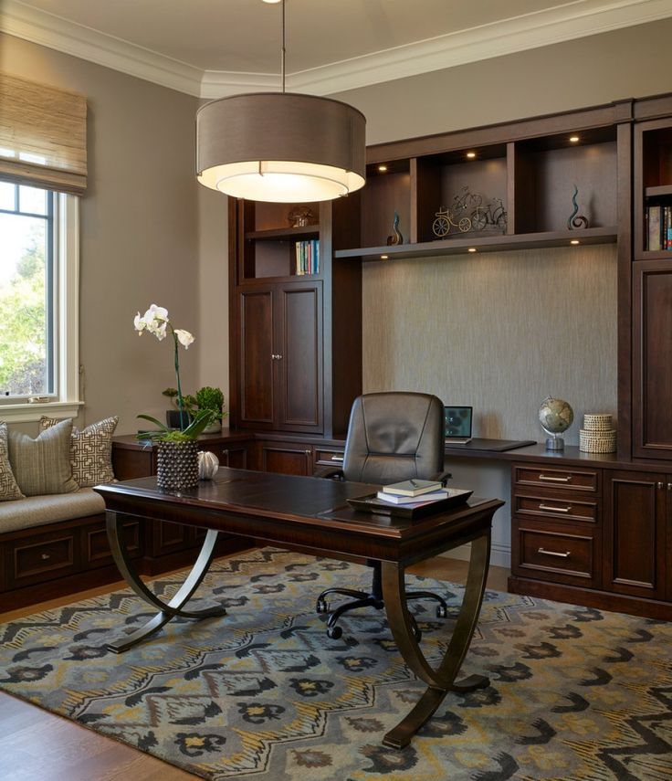 built in cabinetry home office traditional with desk medium hardwood flooring high ceilings
