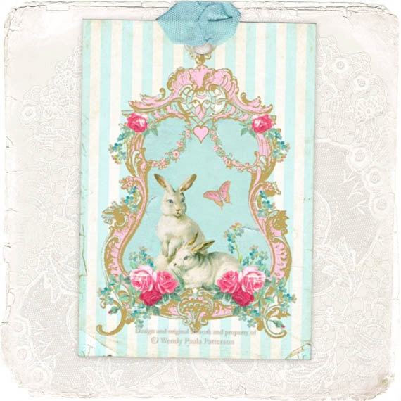 30 best mulberry muse vintage art images on pinterest laminas bunny rabbit gift tags easter pastels stripes pink roses spring blue shabby chic style negle Choice Image