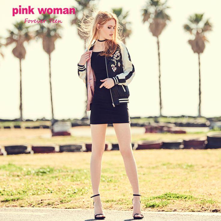 Συνδύασε το bomber με το little black dress σου!!! Shop online at https://www.pinkwoman-fashion.com/
