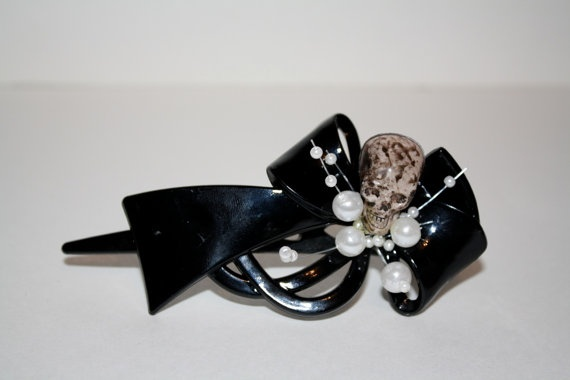 Black Plastic Bow Skull and Pearls Courtney love by HarmonyWalker, $10.00