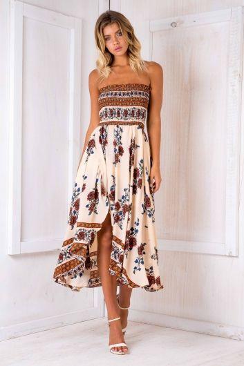 Morocco nights maxi dress - Beige print $75