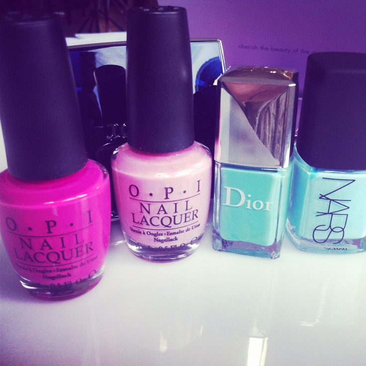 Having some nail fun, from left, OPI Holland collection in Kiss Me on My Tulips, Pedal Faster Suzy, Dior in St-Tropez, Thakoon for Nars in Kutki (available early April)