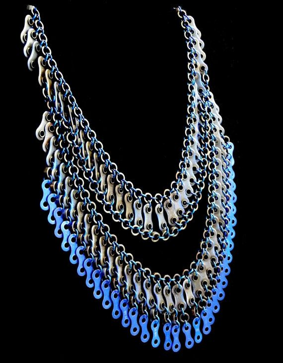 Bike chain Bib Necklace: Dramatic, beautfully drapped, vibrant necklace from bike chain parts.  Bike chain jewelry. Statement Necklace