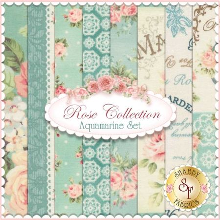 """Rose Collection 8 FQ Set - Aquamarine by Quilt Gate Fabrics: Rose Collection is by Quilt Gate Fabrics. This set contains 8 fat quarters, each measuring approximately 18"""" x 21"""". Expected Arrival Date Is February 2015"""