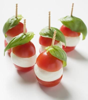 cherrie tomato / mozarella cheese / fresh basil (could replace mozzarella with boccocini cheese) on a tooth pick