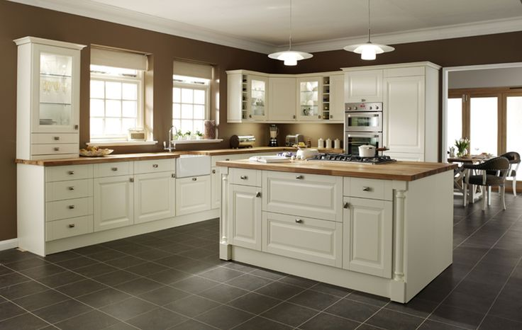 Kitchen:Awesome Interior Gray Square Tile Kitchen Floor Plus White Wooden Kitchen Island And Cabinet Having Brown Wooden Counter Top Fabulous Kitchen Floor Tiles Ideas Give Astounding Look How to Choose Stunning Country Kitchen Furniture
