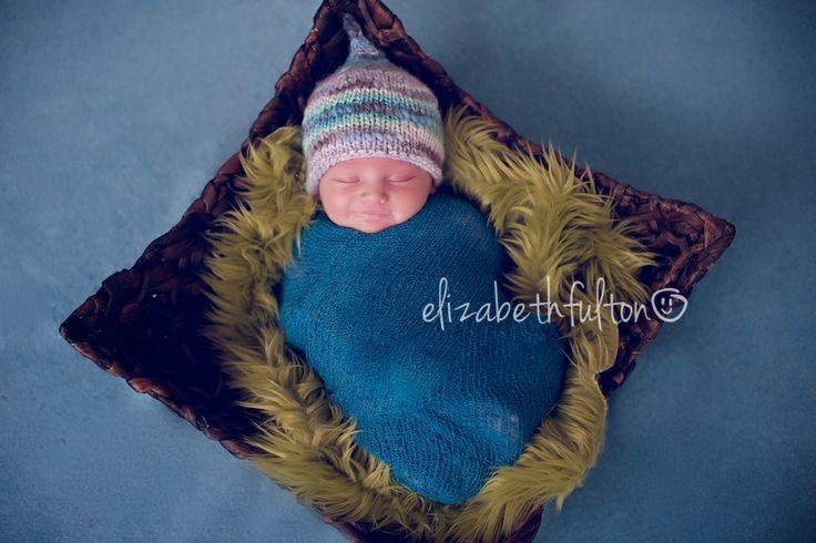 OOAK little handknit newborn pixie hat made from a luxurious bamboo blend yarn!