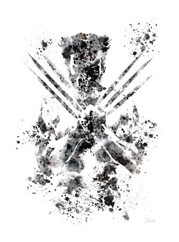 For sale direct from the artist      Original Art Print of Wolverine illustration created with Mixed Media and a Contemporary Design