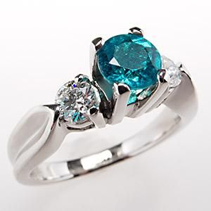 Simple  Carat Paraiba Tourmaline Engagement Ring w Diamond Accents Platinum