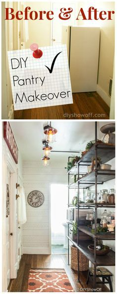 Amazing Pantry Before and After - DIY Show Off ™ - DIY Decorating and Home Improvement Blog: Kitchens Design, Industrial Shelves, Diy'S, Pipes Shelves, Diy Pantries, Industrial Pipe, Pantries Makeovers, Diy Decor, Modern Kitchens