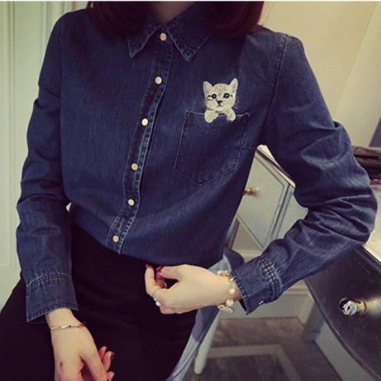 Весна мода женщин Blusas дикий ветер колледжа женский топ карман вышивка Cat 2016 новый сладкий свободного покроя винтаж джинсовые рубашки