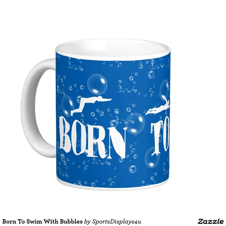 Born To Swim With Bubbles Basic White Mug
