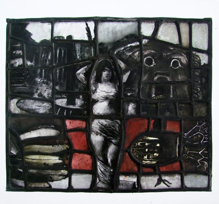 Twentieth-century British stained glass panel, by Pauline Boty, with a siren centre stage and full of Freudian symbolism. (Stained Glass Museum)