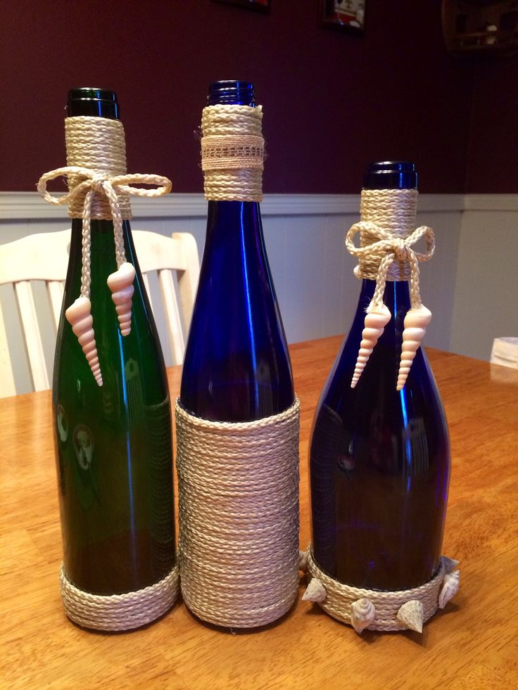 Twine wrapped bottles. Beach themed.. Recycled Wine bottles.