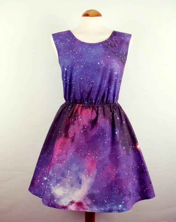 Galaxy dress cosmic nebula grunge dress purple blue by luminia