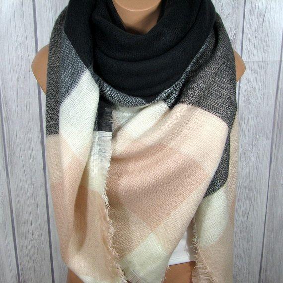 Blanket Scarf for Women, Zara Tartan Inspired, Gray, Soft Light Pink, Black, Women's Oversized Large Winter Scarves