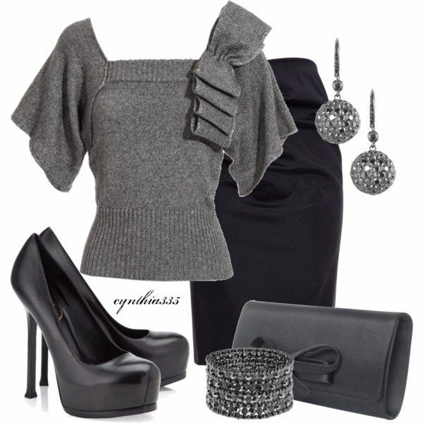 Work Outfits | Shades of Gray  Antonio Berardi top, asymmetric skirt, Yves Saint Laurent shoes, Valentino Satin clutch  by cynthia335