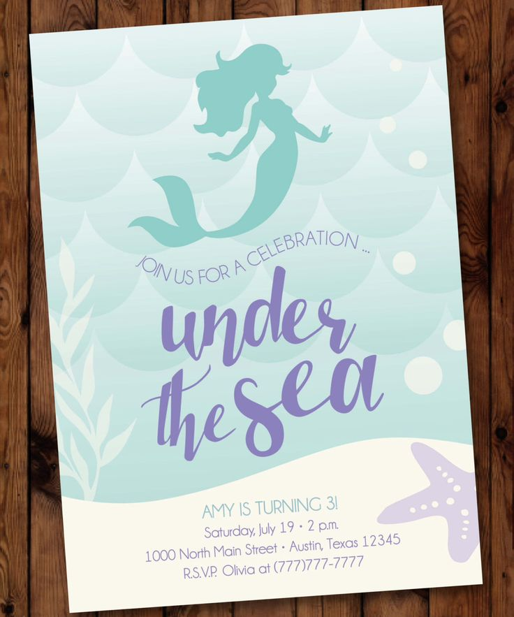 Under the Sea Birthday Invitation, Little Mermaid Birthday Invitation, Mermaid Birthday Invitation #0001 by PartiesbytheBundle on Etsy https://www.etsy.com/listing/268481277/under-the-sea-birthday-invitation-little