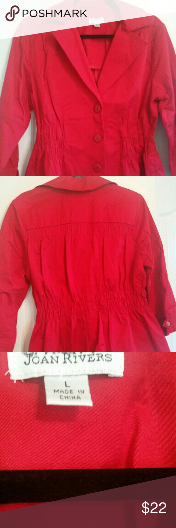 Super cute bright red cotton short trench coat 3/4 length sleeves. Joan Rivers Jackets & Coats