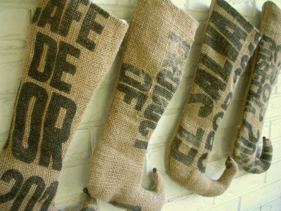 Burlap Christmas Stockings made from Coffee Sacks - Rustic Holiday Decor - Industrial Christmas Decor