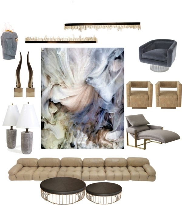 """""""interior design 0.6"""" by neonmilk on Polyvore. Loving the lights by Christopher Boots & the art by Cliff Briggie"""
