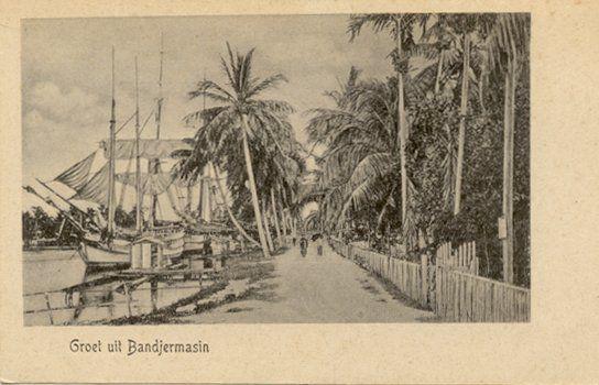 Stadgezicht in Bandjermasin 1900.