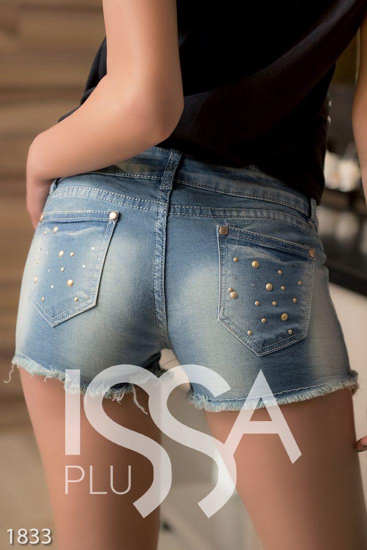 Синие джинсовые шорты с потертостями и матовым декором: 280 грн. фото 4