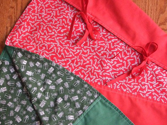 """60 REVERSIBLE Christmas Tree Skirt . . . Red  to Green . . . Simple, Heirloom Quality . . . $100 . . . by #SEWINGtheABCs on Etsy . . . Email Signup at www.sewingtheabcs.com with Free Gift.  #ReversibleChristmasTreeSkirt #TreeSkirt #ChristmasDecor #RedTreeSkirt #GreenTreeSkirt #60""""TreeSkirt #ChristmasTreeSkirt #Reversible"""
