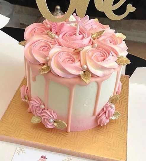 bd84a8fdcf44 Rose-topped Store bought cake