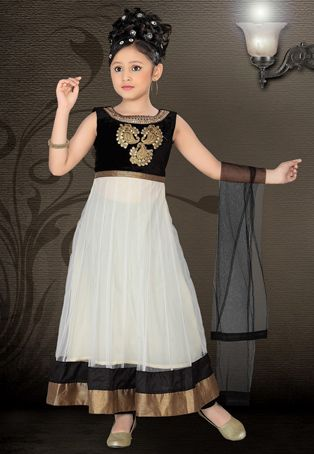 Off White Net Readymade Anarkali Churidar Kameez