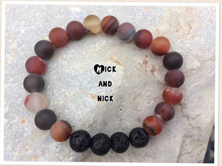 Aromatherapy lava bead diffuser bracelet for essential oils- 8 mm matte agate beads by MickandNick on Etsy