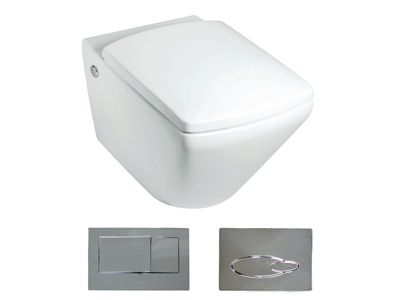 Escale Wall Hung Toilet with bevel flush button  Features:    Bevel flush button panel (oval version option available)  Dual flush (4.5/3L)  In wall cistern - fully framed  P-trap set out:185mm  Open rim  Back up shut-off valve located on cistern and accessible through the flush button panel