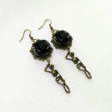 Black Rose Skeleton Earrings by TeacupRose on Etsy
