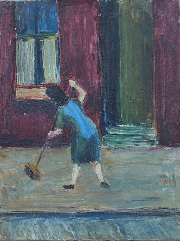 Lowndes, Alan Bailey 1921-1978 British AR, Mum Sweeping. Lowndes, Alan Bailey 1921-1978 British AR, Mum Sweeping. 16.5 x 11.5 ins., (42 x 29.25 cms.), Oil on Board, Signed and dated early fifties. Provenance: Exhibited Stockport Museum and Art Gallery 1972, Neptune Theatre, Liverpool 1968, Stockport Museum and Art Gallery 1979, Singer Museum, Laren 1980, Stockport Museum and Art Gallery 2010. The vendor acquired the painting from Alan Lowndes in the fifties. Illustrated on page 58 in Alan…