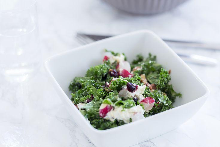 Salat med chevre honning pecan og dressing