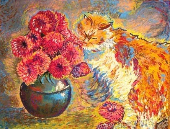 Ginger cat with flowers by Margoarts on Etsy