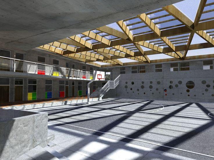 Render 3D Arquitectura Colegio Arturo Prat La Serena, Chile