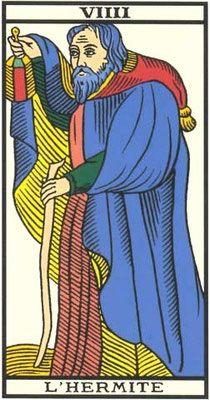 Découvrez l'interprétation de la neuvième arcane majeur, L'ermite ou hermite dans le tirage divinatoire du tarot de Marseille. Les symboles du Tarot ont une portée universelle.