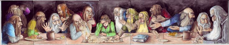 "7 Panel ACEO The Hobbit with Composition of ""The Last Supper"" by Da'vinci. Mats Used: Hot Press Illustration Board Card stock (2.5 x 3.5) Ink Watercolor Prismacolor Acrylic"