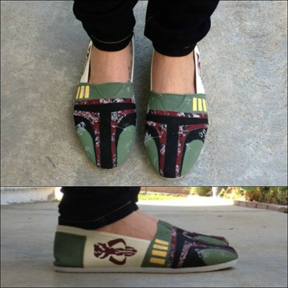 Handpainted Boba Fett Star Wars Shoes by TheFiercestFandom on Etsy, $70.00