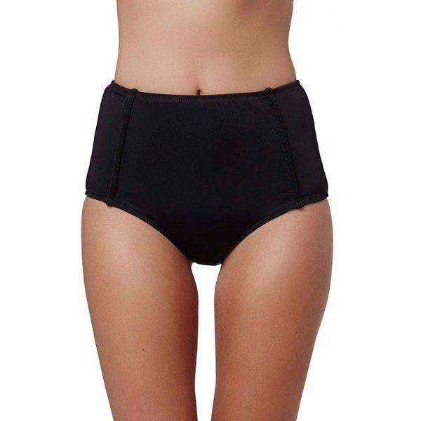 Topshop High Waisted Bikini Bottoms ($20) ❤ liked on Polyvore featuring swimwear, bikinis, bikini bottoms, black, bikini bottom swimwear, high rise bikini, topshop, topshop swimwear and high waisted bikini bottoms