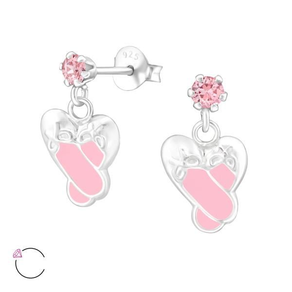 Sterling Silver Ballet Shoes Drop Earrings With Swarovski Crystals  #925 #sterling #gift #rings #stud #silver #kids #spoilurself #jewelry #hoops