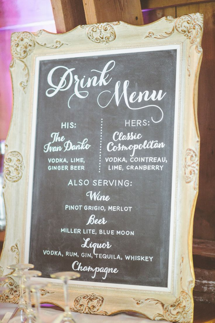 Best 25 wedding drink menu ideas on pinterest wedding drink new york glamour in a wisconsin barn wedding junglespirit Gallery