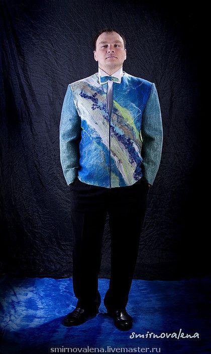 """Для мужчин, ручной работы. Ярмарка Мастеров - ручная работа. Купить Пиджак """"Гольфстрим"""" из коллекции """"Течения"""". Handmade. Пиджак, хлопок"""